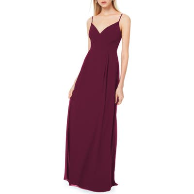 #levkoff Pleated Bodice Chiffon Gown, Burgundy