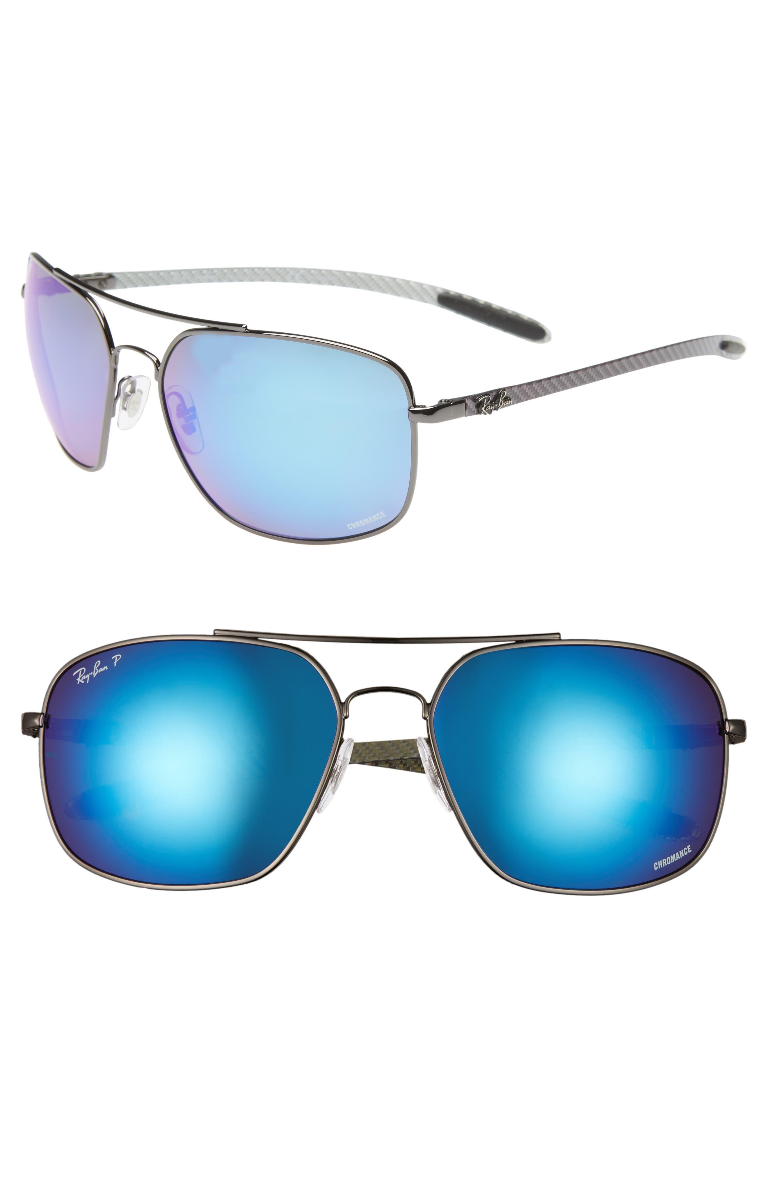 Ray-Ban 62Mm Polarized Square Sunglasses - Gunmetal