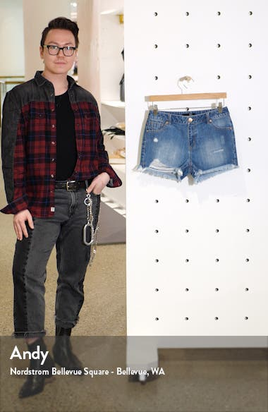 Distressed High Waist Denim Shorts, sales video thumbnail