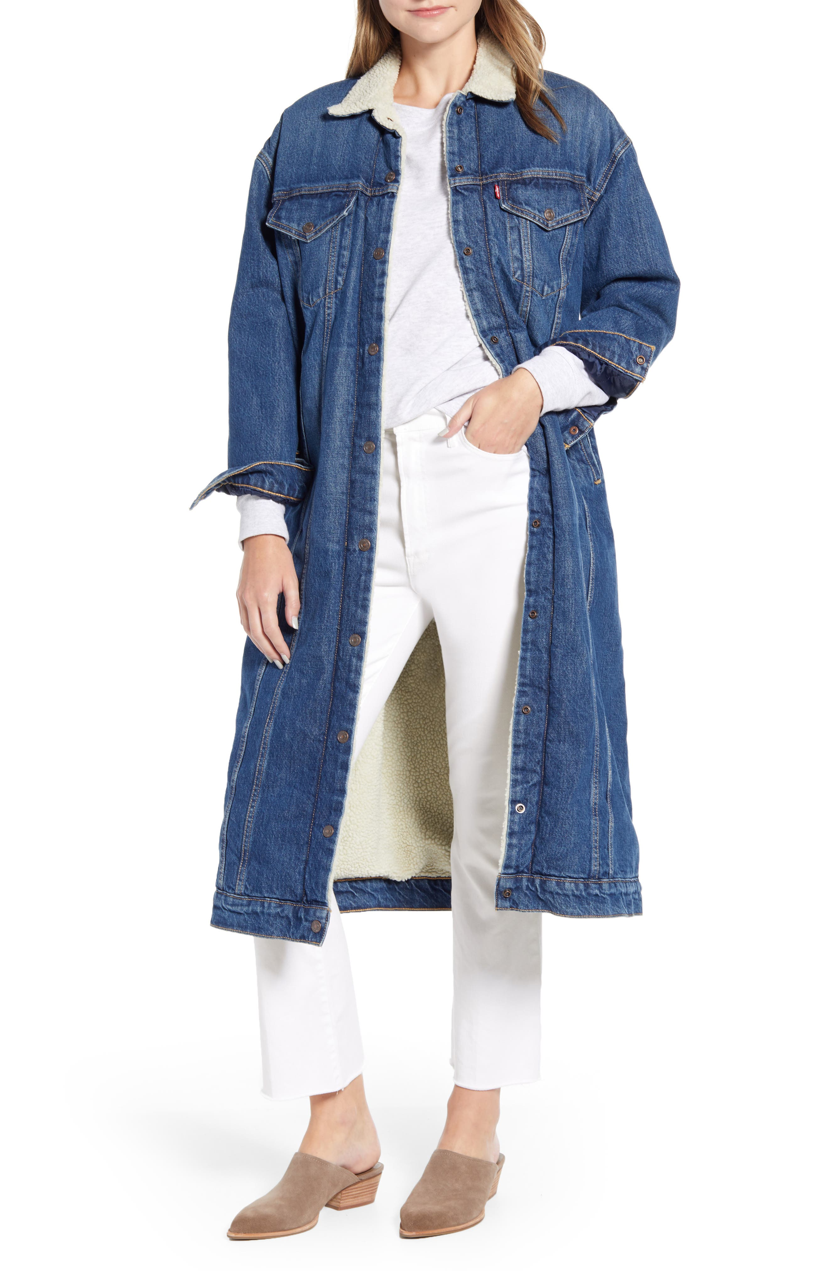 Levi's® Long Trucker Jacket with Faux Shearling Collar & Trim