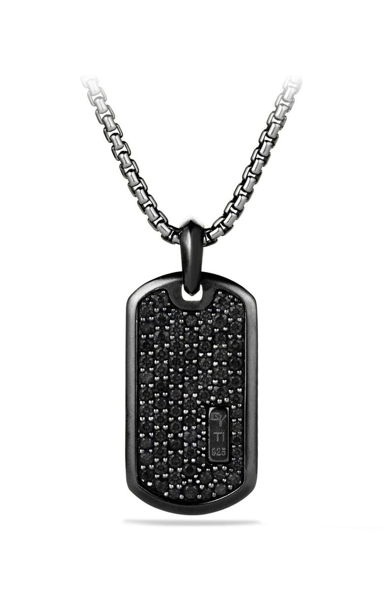 DAVID YURMAN Pavé Tag with Black Diamonds and Black Titanium, Main, color, BLACK DIAMOND
