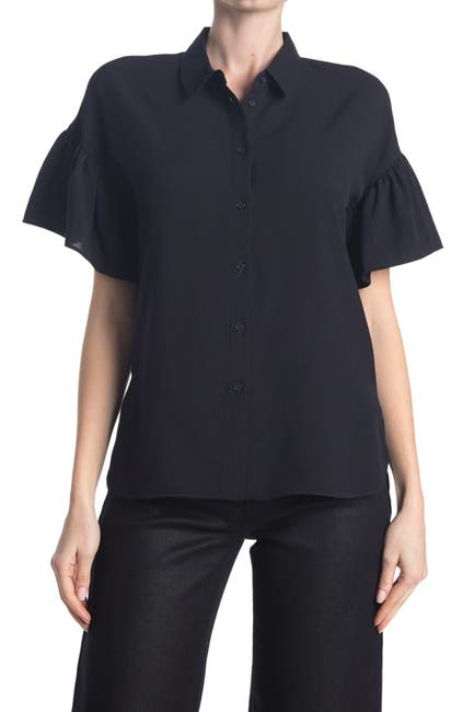 Image of French Connection Crepe Light Ruffle Sleeve Shirt