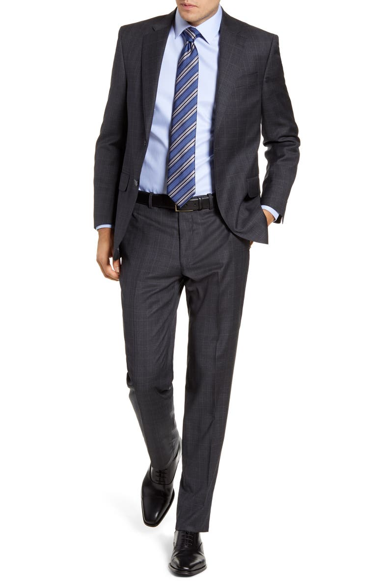 PETER MILLAR Flynn Classic Fit Plaid Wool Suit, Main, color, GREY