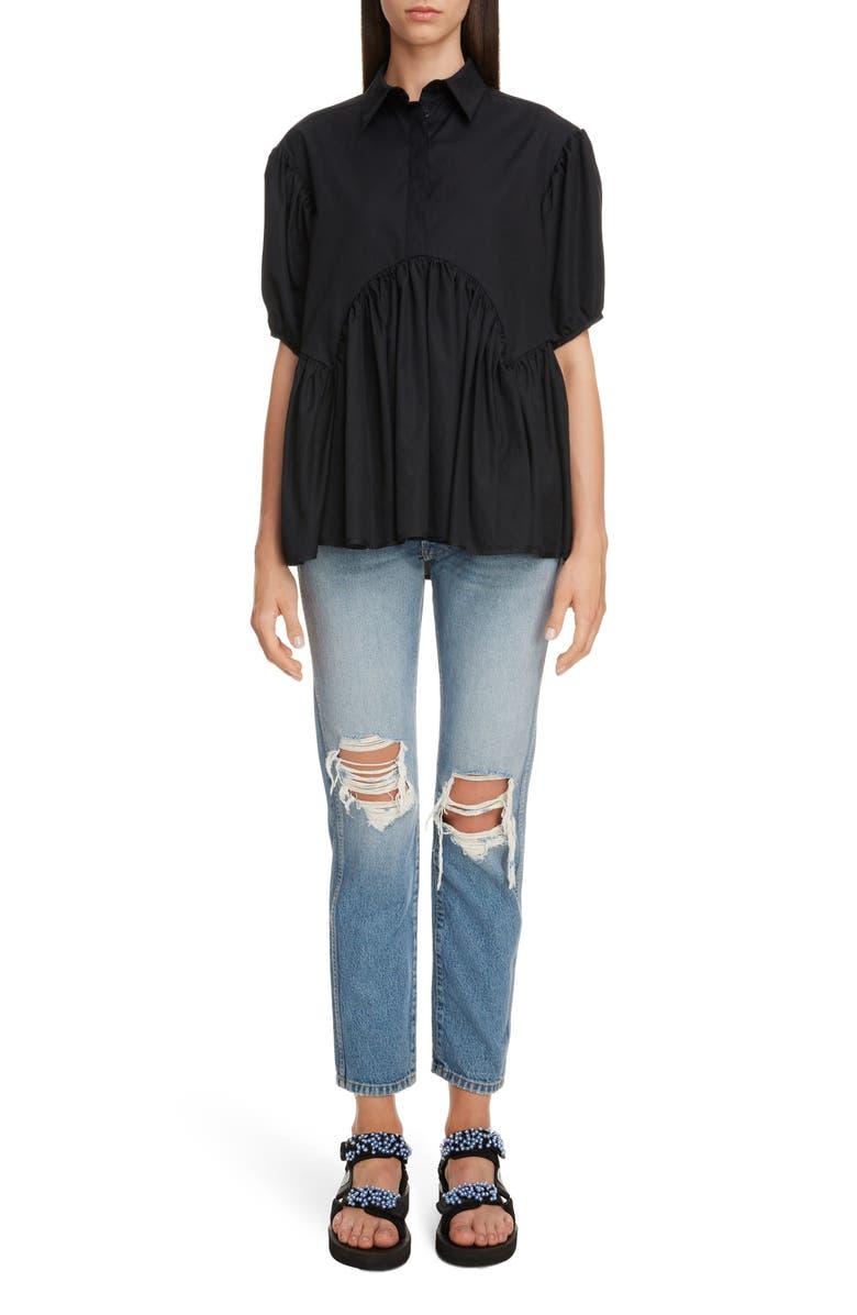 CECILIE BAHNSEN Ellie Puff Sleeve Blouse, Main, color, BLACK