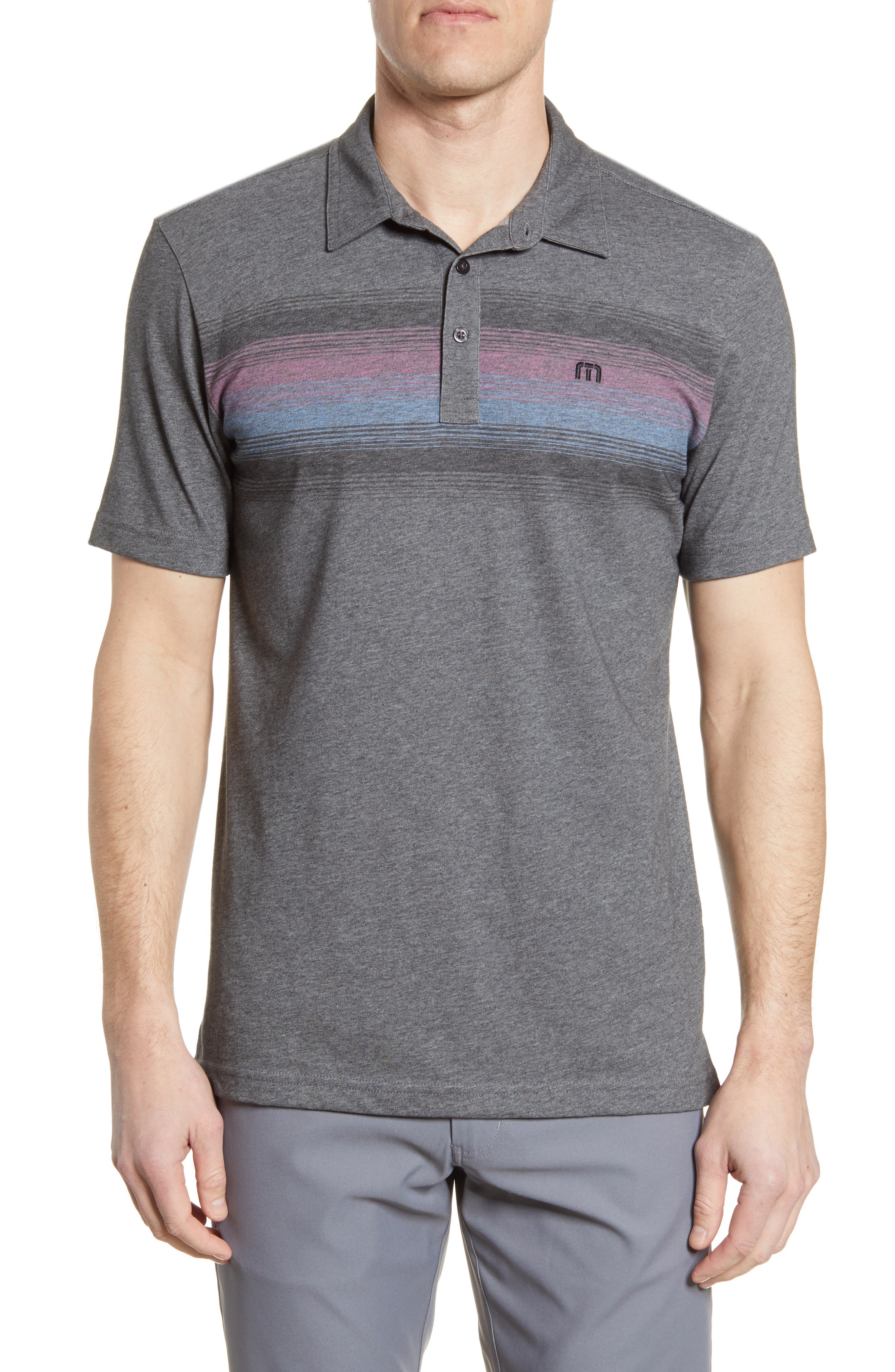 A band of mixed, gradient stripes broadens the chest of a polo made for comfort and casual good looks from a softly heathered cotton blend. Style Name: Travismathew Were Dancin Stripe Polo. Style Number: 6046341. Available in stores.