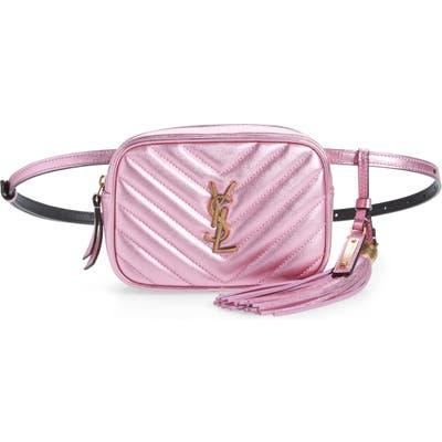 Saint Laurent Lou Lou Metallic Calfskin Leather Belt Bag With Tassel - Pink