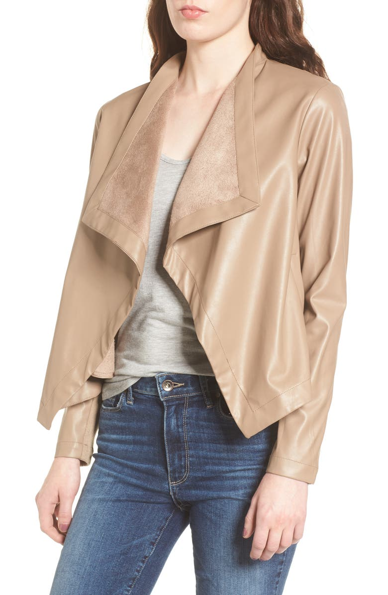 BB DAKOTA 'Peppin' Drape Front Faux Leather Jacket, Main, color, 240
