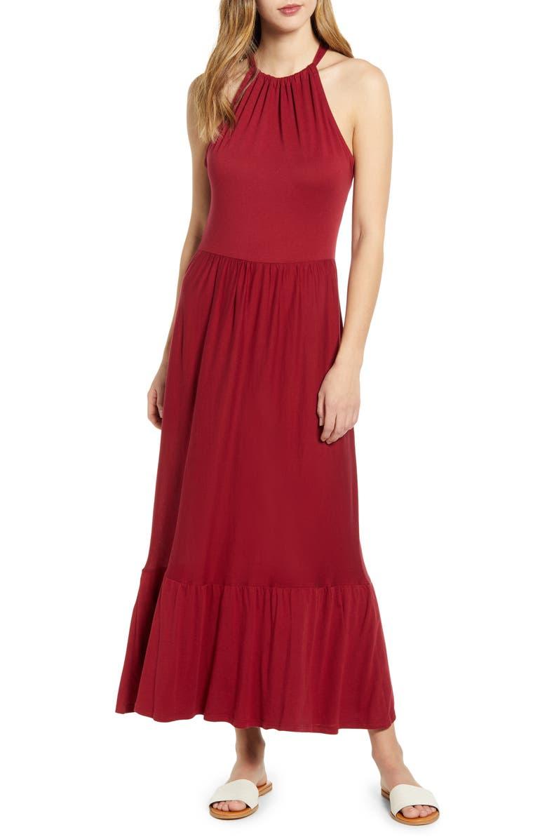 CASLON<SUP>®</SUP> Halter Neck Ruffle Hem Maxi Dress, Main, color, RED RHUBARB
