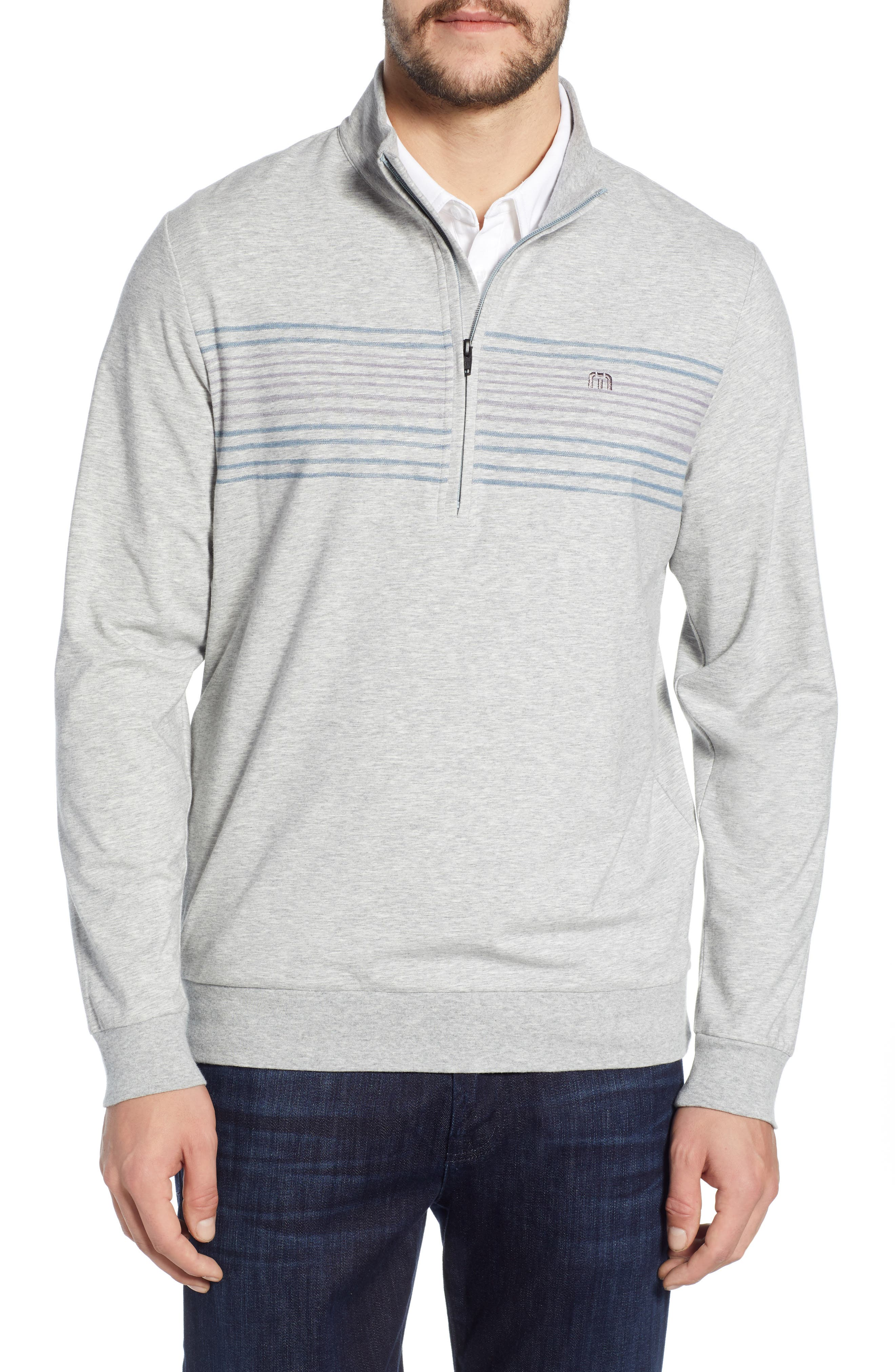 ,                             Play Through Regular Fit Half Zip Pullover,                             Main thumbnail 1, color,                             HEATHER ALLOY