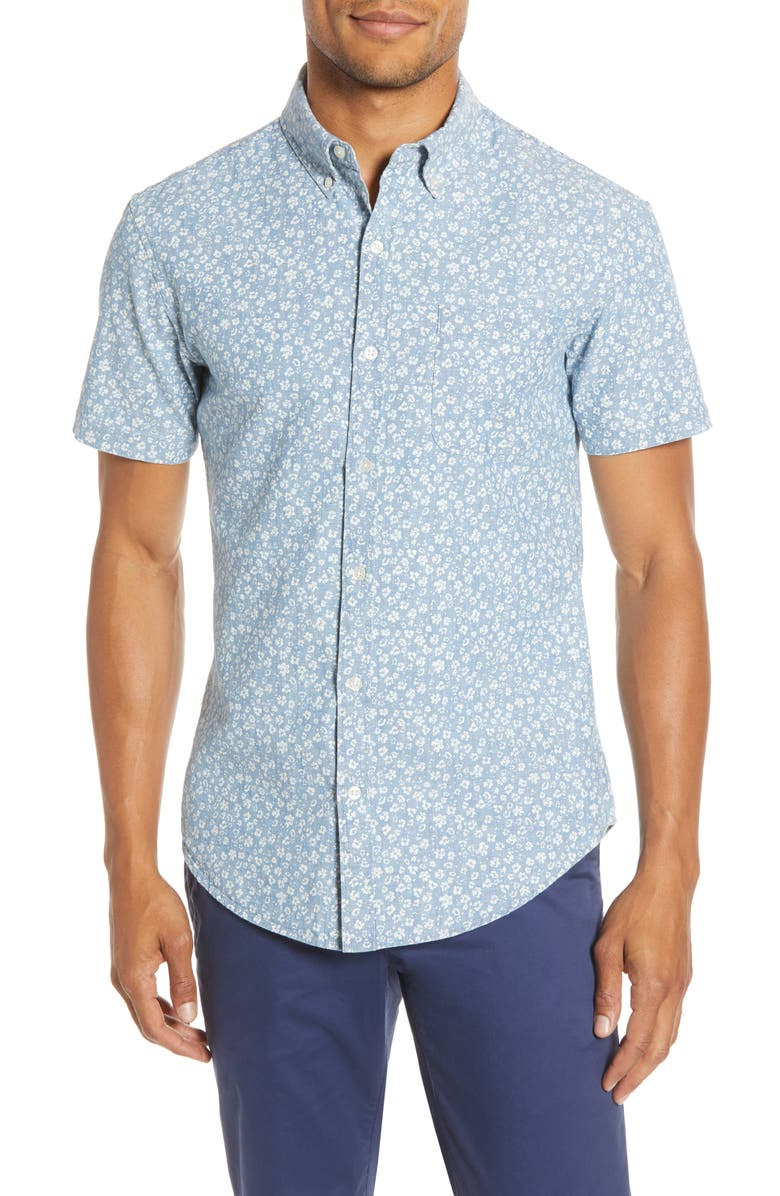 BONOBOS Riviera Slim Fit Print Chambray Short Sleeve Button-Down Shirt, Main, color, STARRY SKY CHAMBRAY