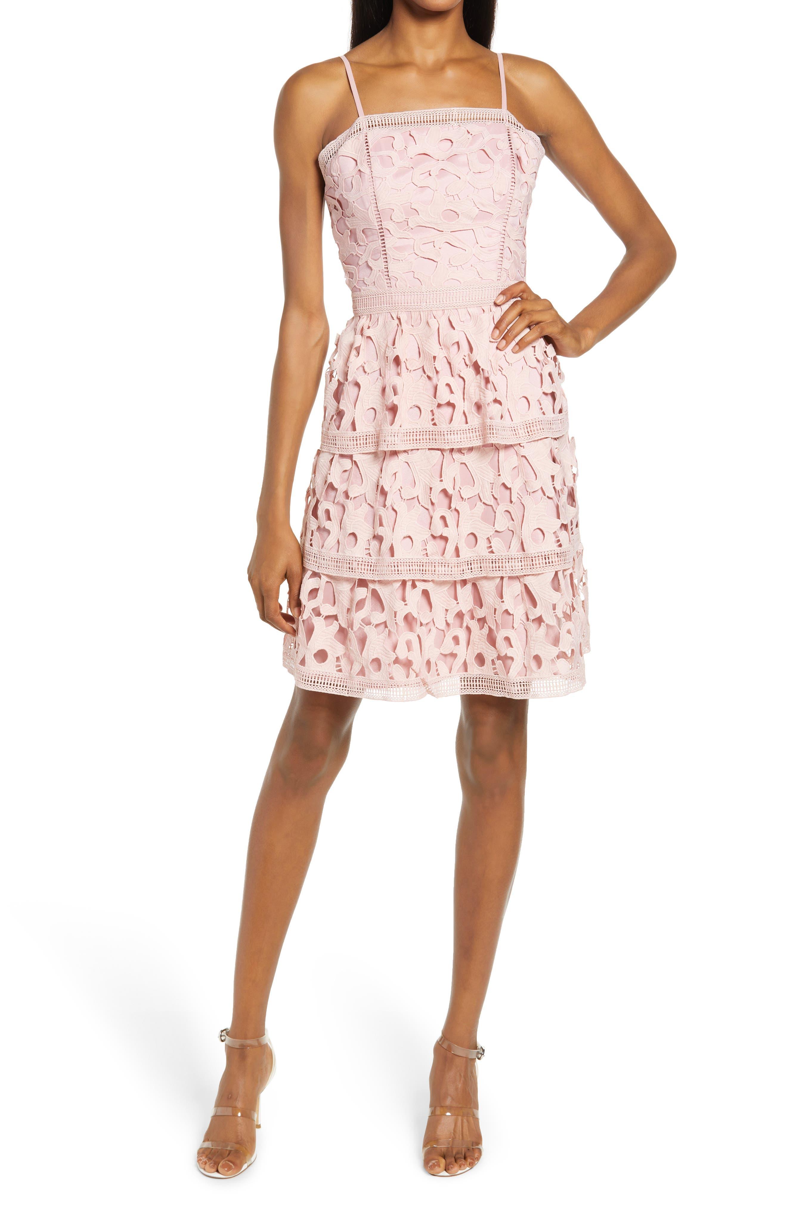Tiered Ruffle Crochet Lace Dress