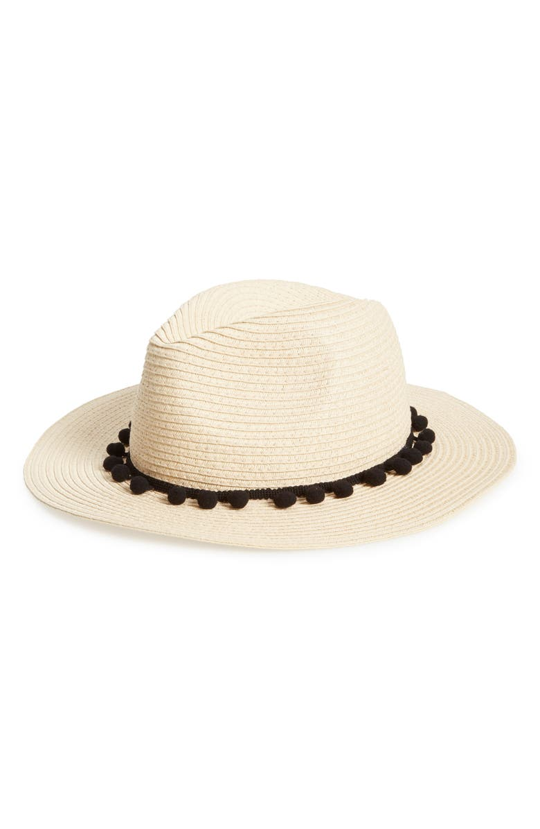 SOLE SOCIETY Pom Pom Panama Hat, Main, color, 101