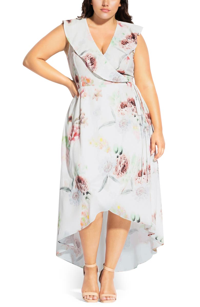 CITY CHIC Day Dream High/Low Wrap Dress, Main, color, DAY DREAM