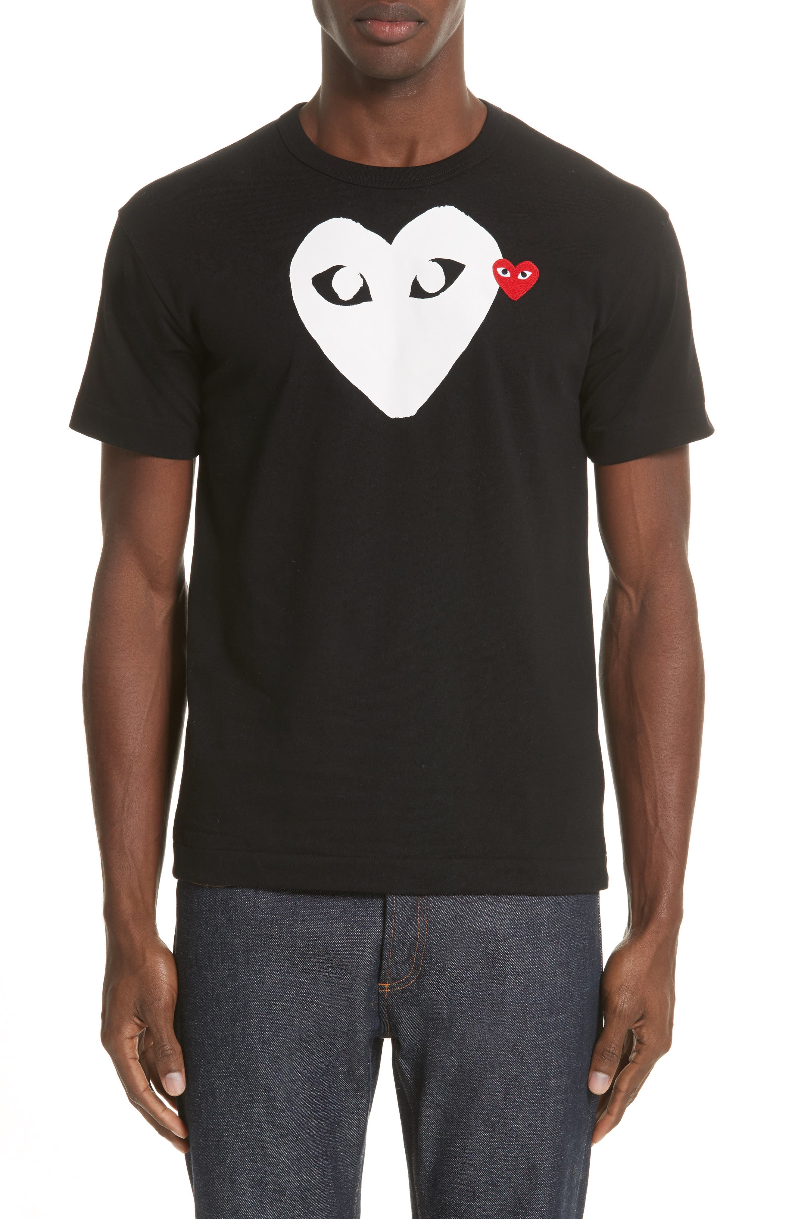 A single-color heart logo print brands a soft, durable cotton crewneck T-shirt finished with a bright-red heart applique on the chest. Style Name: Comme Des Garcons Play X-Ray Heart Slim Fit Logo T-Shirt. Style Number: 974044. Available in stores.