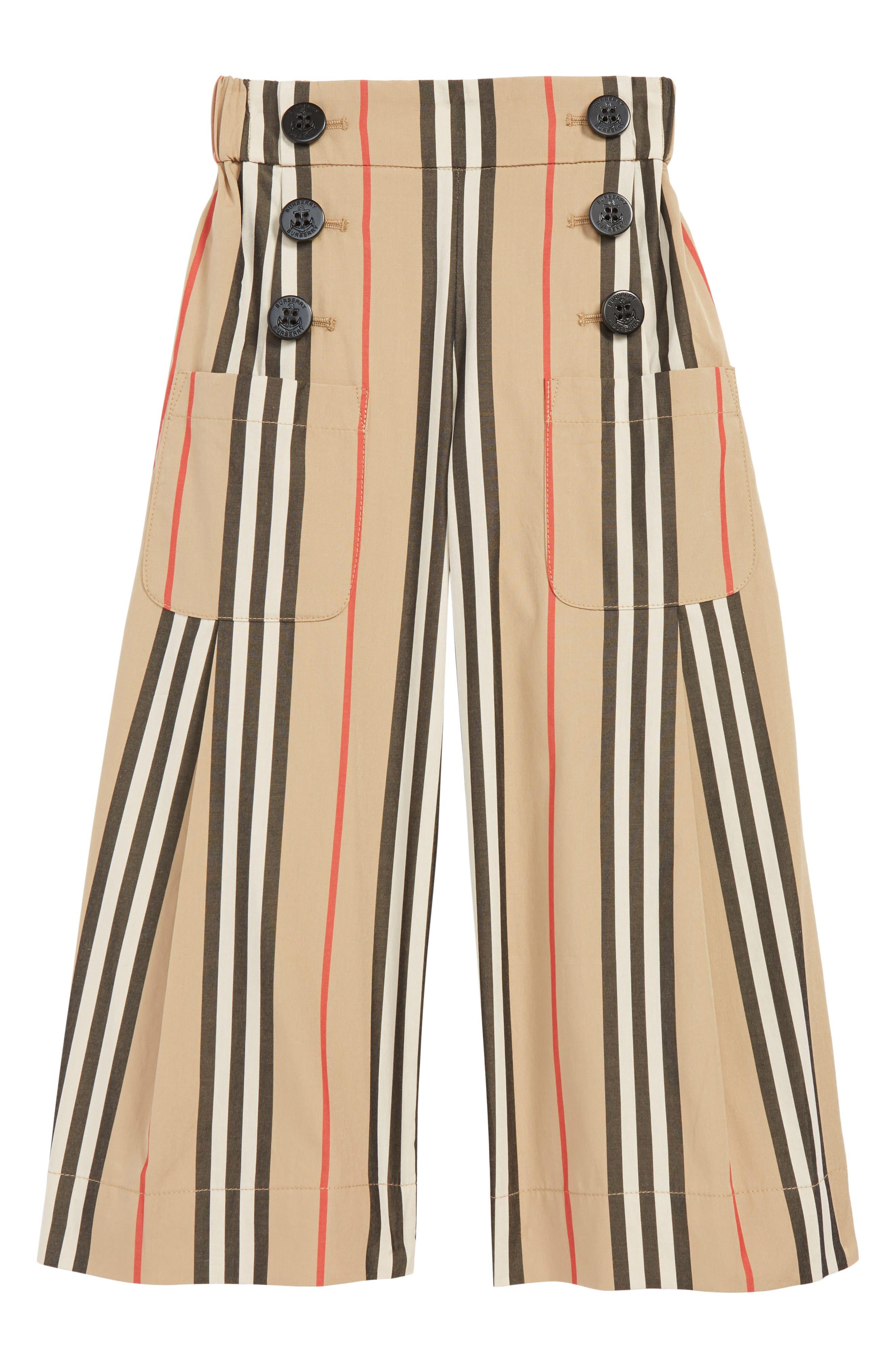Girls Burberry Taren Wide Leg Pants Size 12Y  Beige
