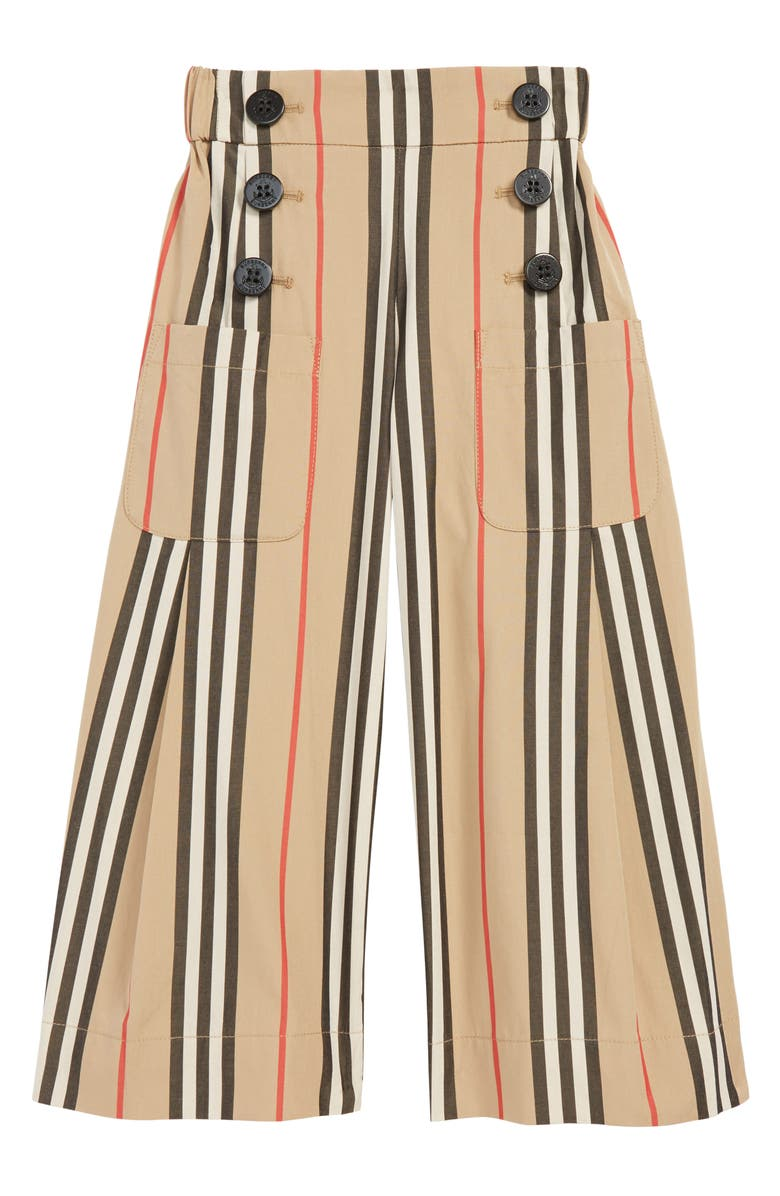 BURBERRY Taren Wide Leg Pants, Main, color, BEIGE CHECK