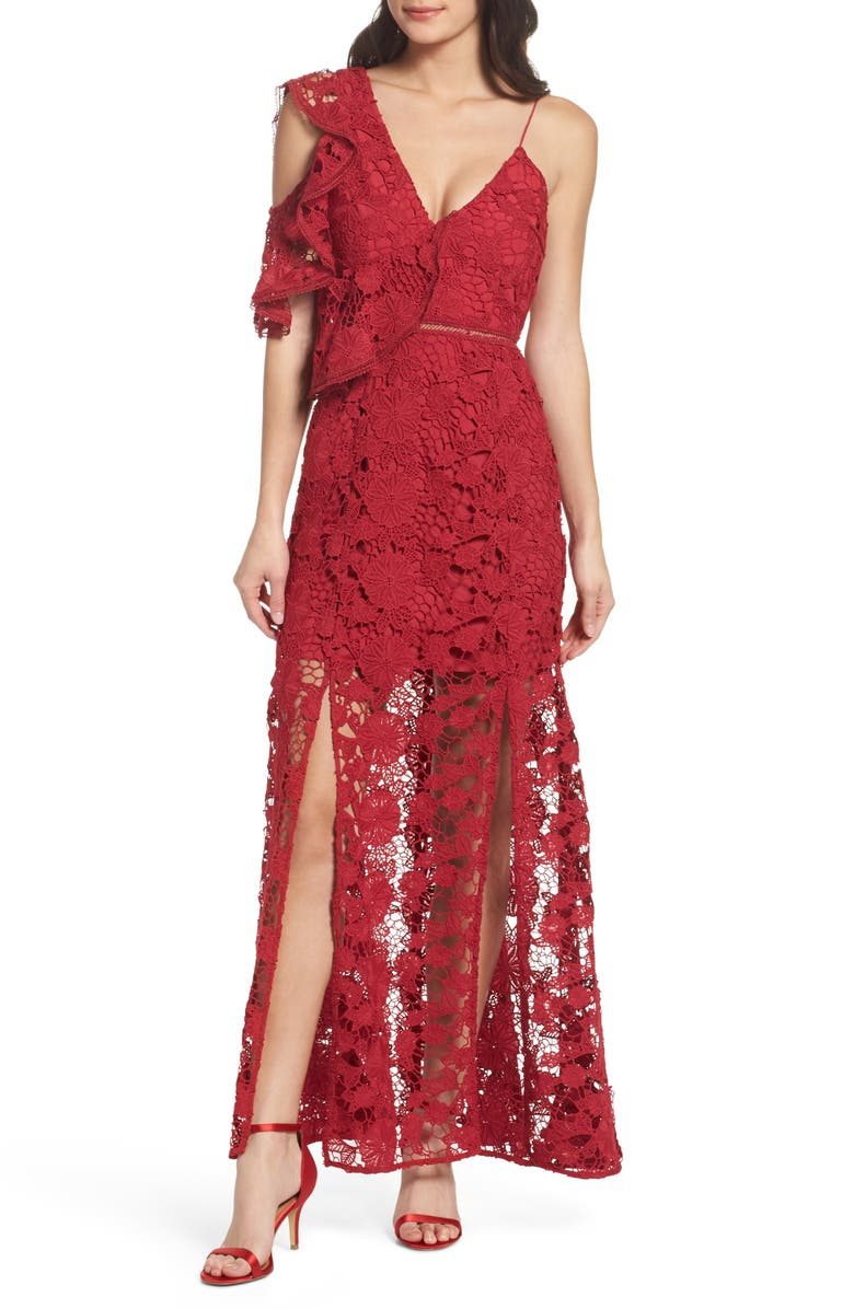KEEPSAKE THE LABEL Frameless Ruffle Crochet Gown, Main, color, 621