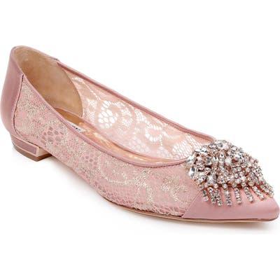 Badgley Mischka Lailah Embellished Skimmer Flat- Pink