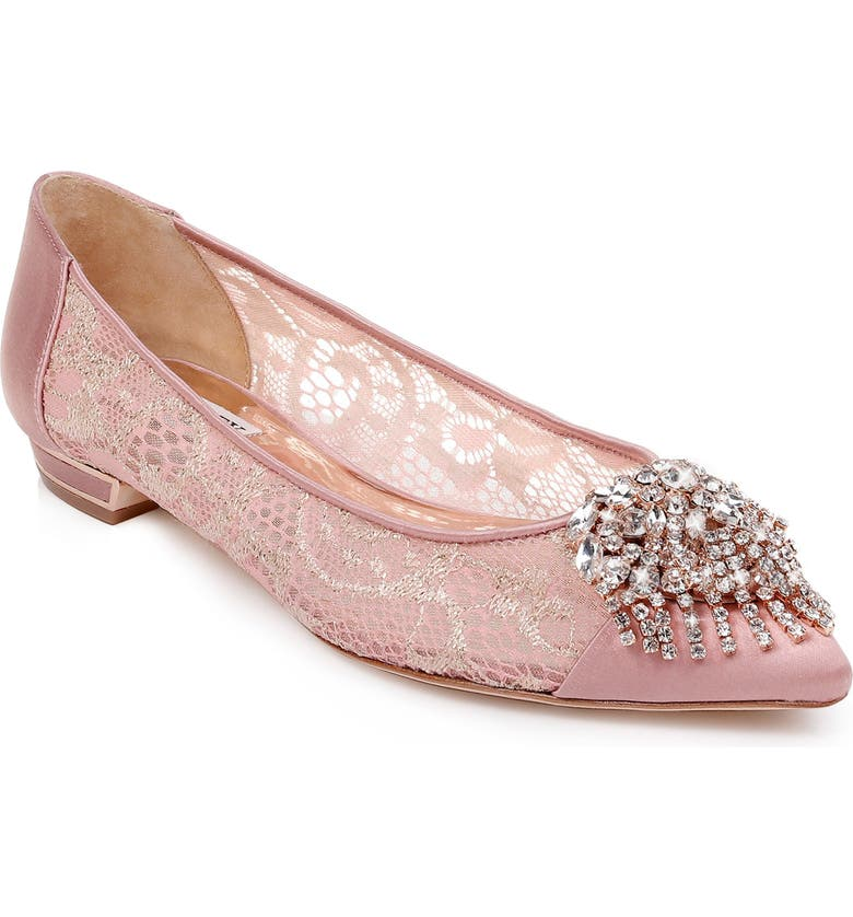 BADGLEY MISCHKA COLLECTION Badgley Mischka Lailah Embellished Skimmer Flat, Main, color, PINK FABRIC/ SATIN