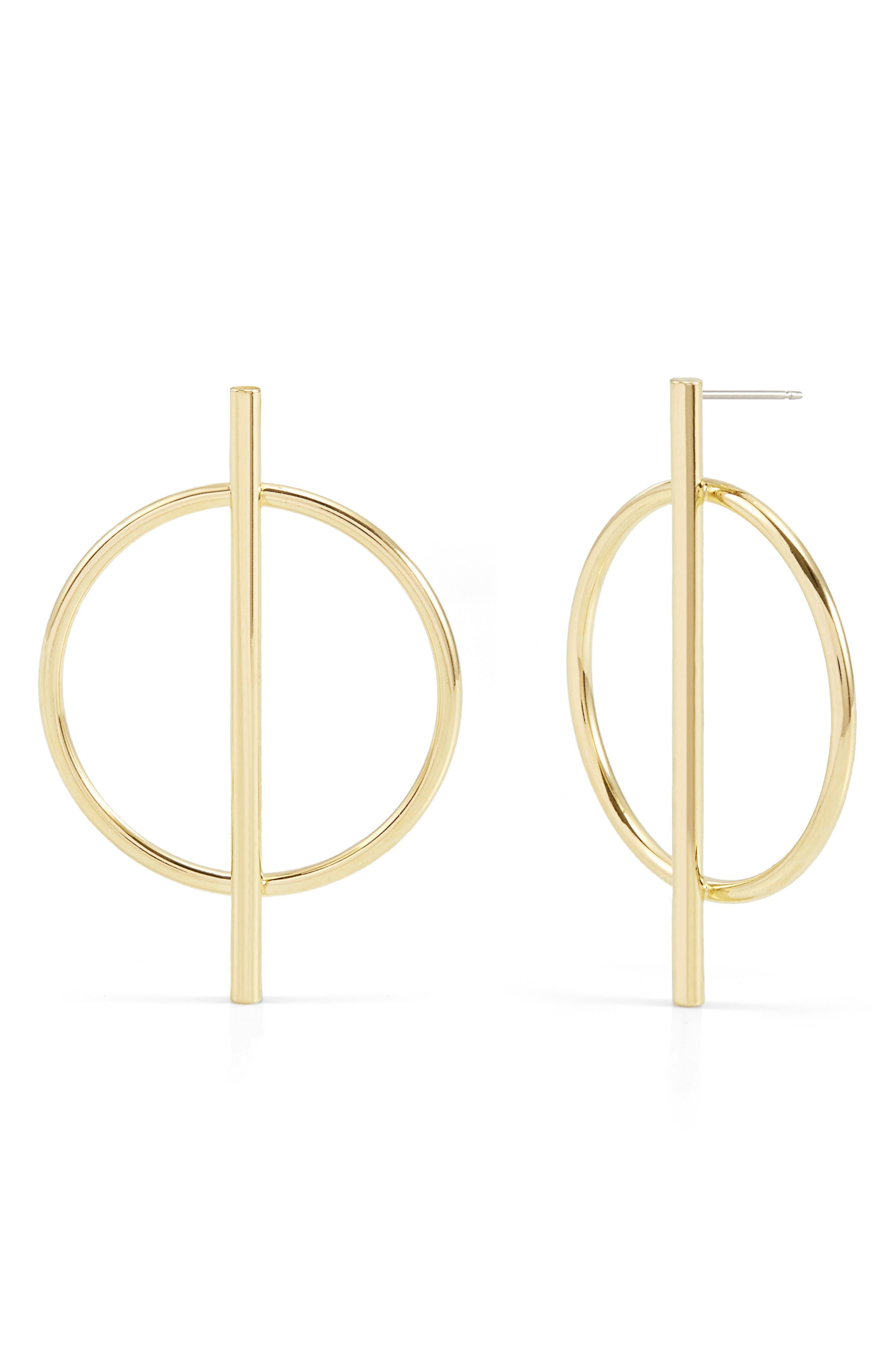 Piper Long Bar Hoop Earrings