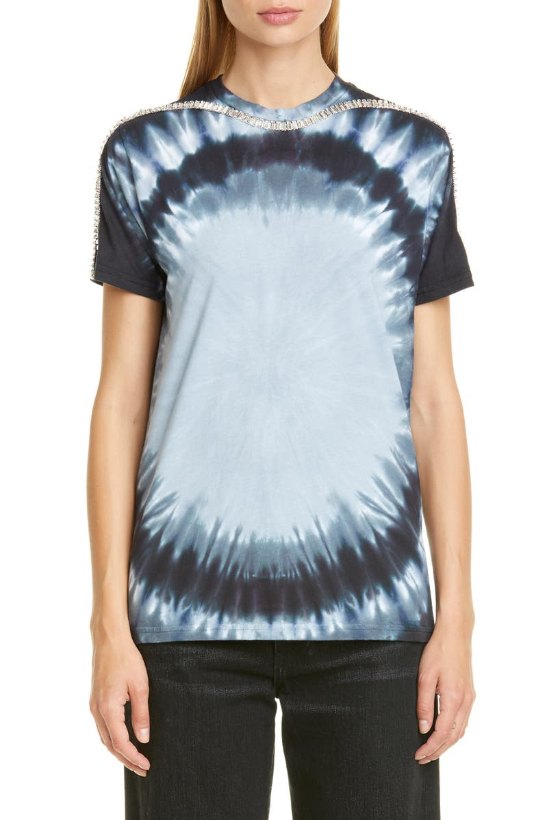 COLLINA STRADA Sporty Spice Crystal Oversized Tee, Main, color, BLACK BULLSEYE TIE DYE