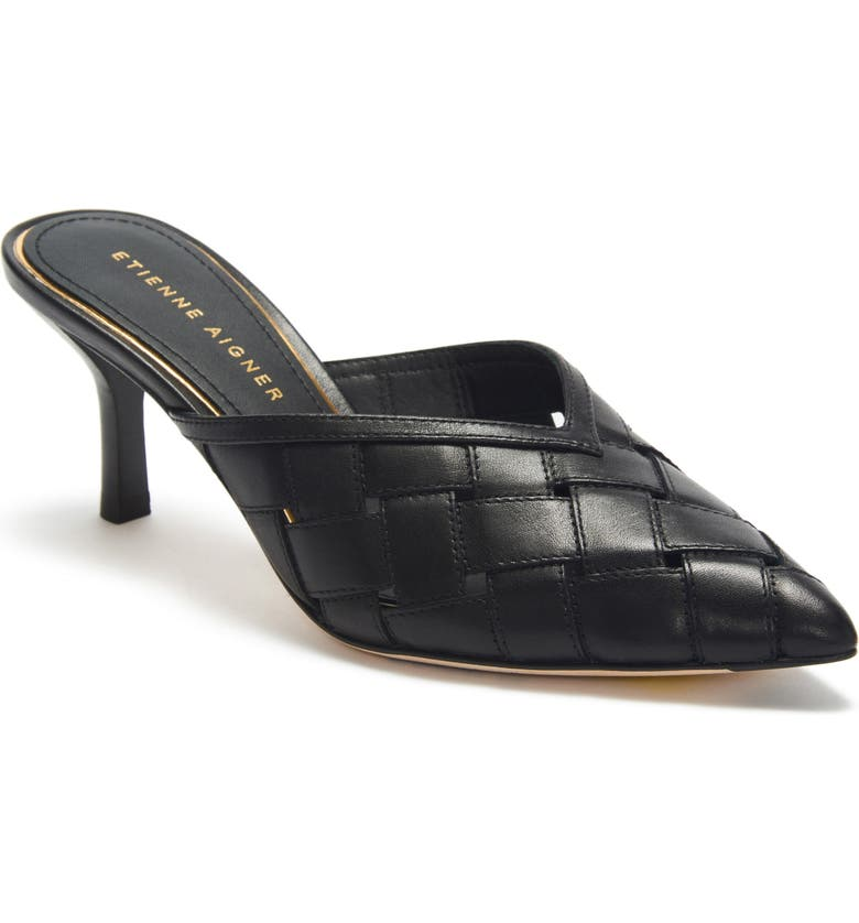 ETIENNE AIGNER Bedford Woven Pointed Toe Mule, Main, color, BLACK LEATHER