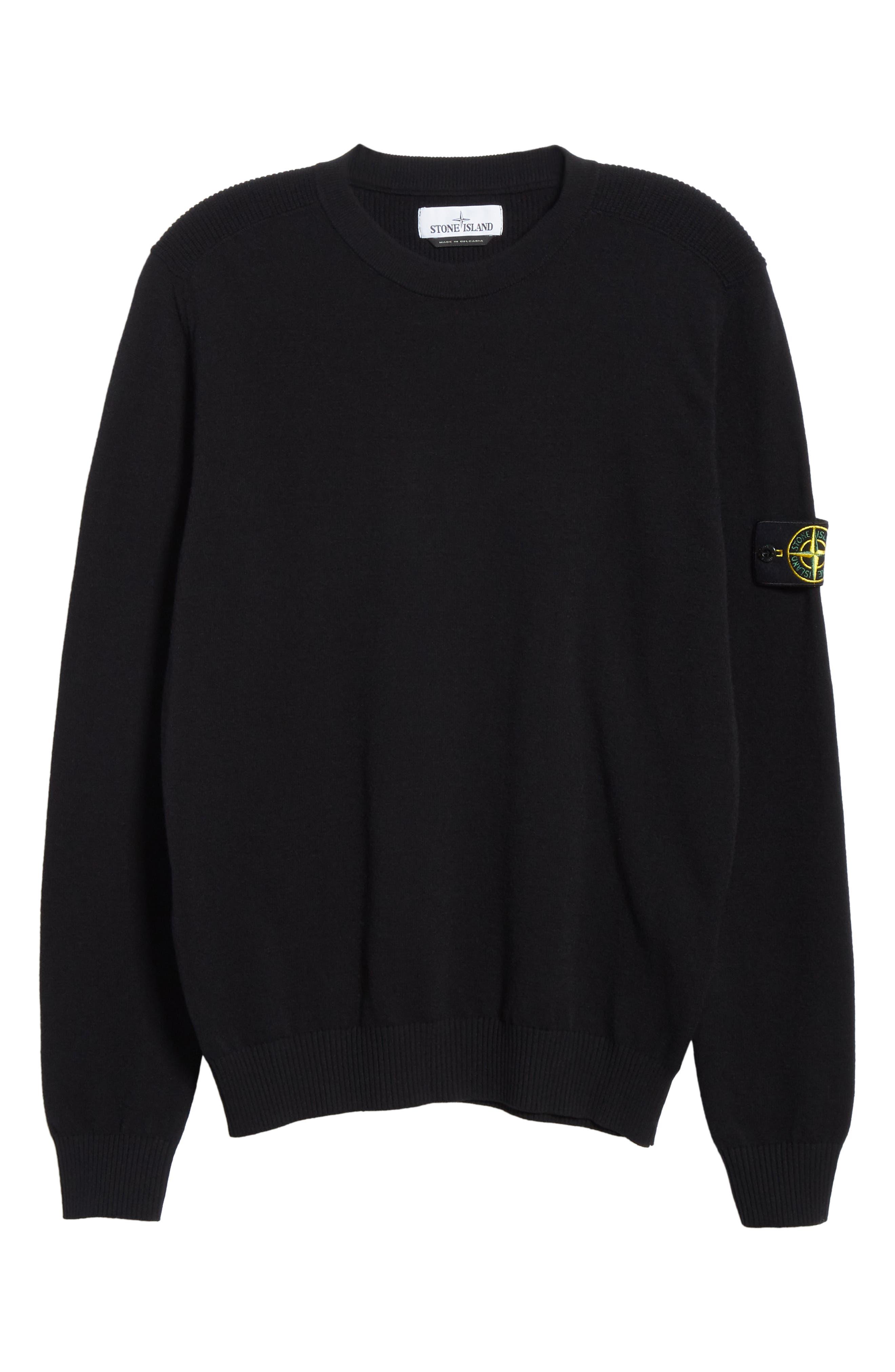 Stone Island T-shirts Logo Patch Wool Blend Sweatshirt