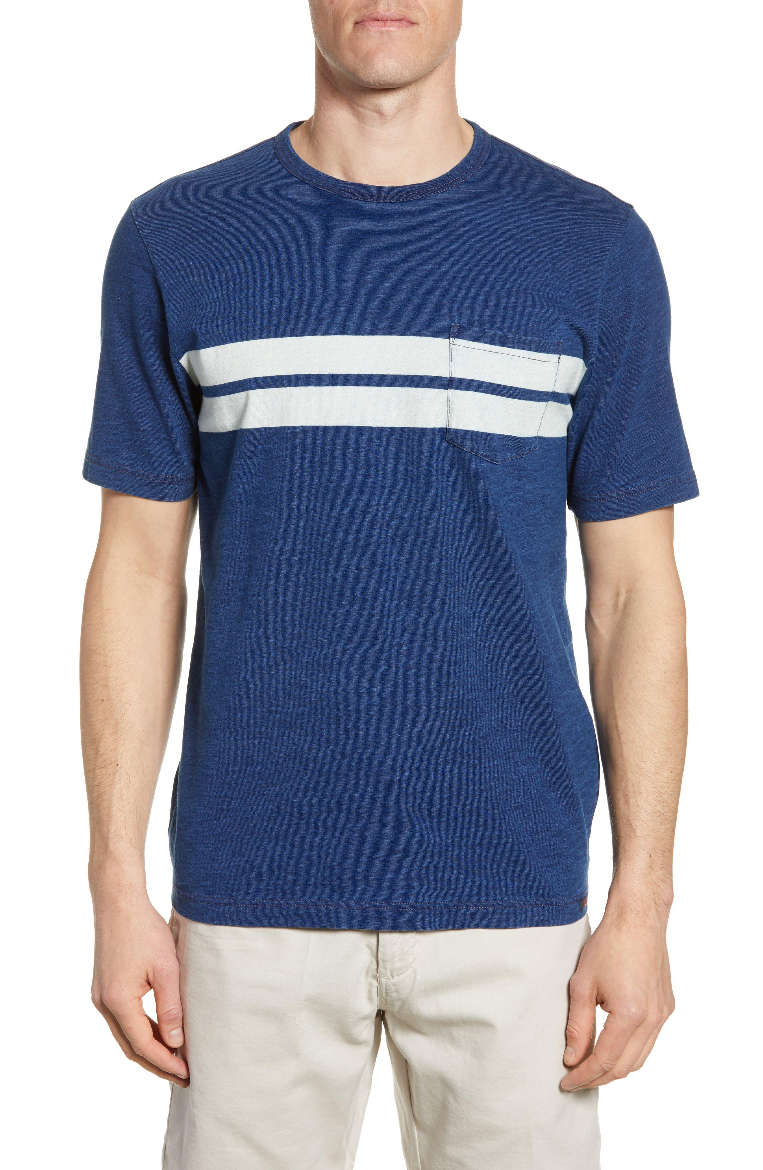 Faherty Twin Stripe Pocket T-Shirt, Blue