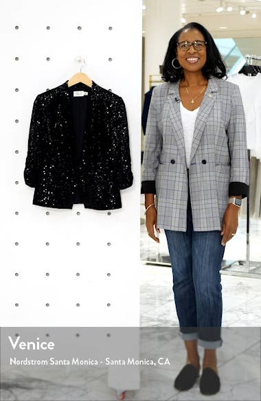 Sequin Ruched Sleeve Blazer, sales video thumbnail