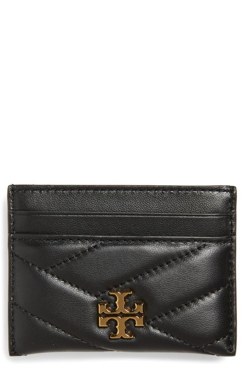 TORY BURCH Kira Chevron Leather Card Case, Main, color, BLACK