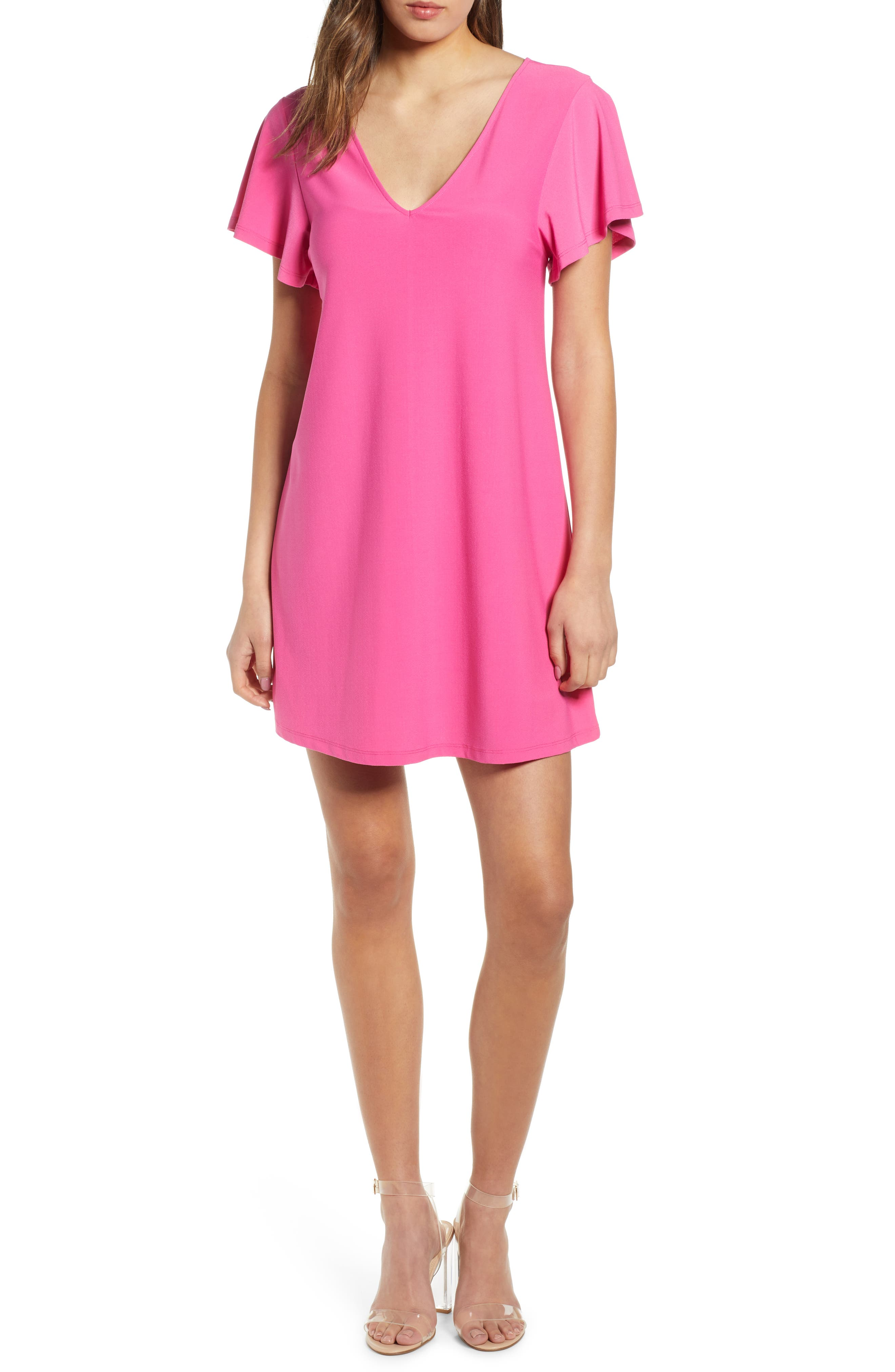 Leith Ruffle Sleeve Shift Dress, Pink