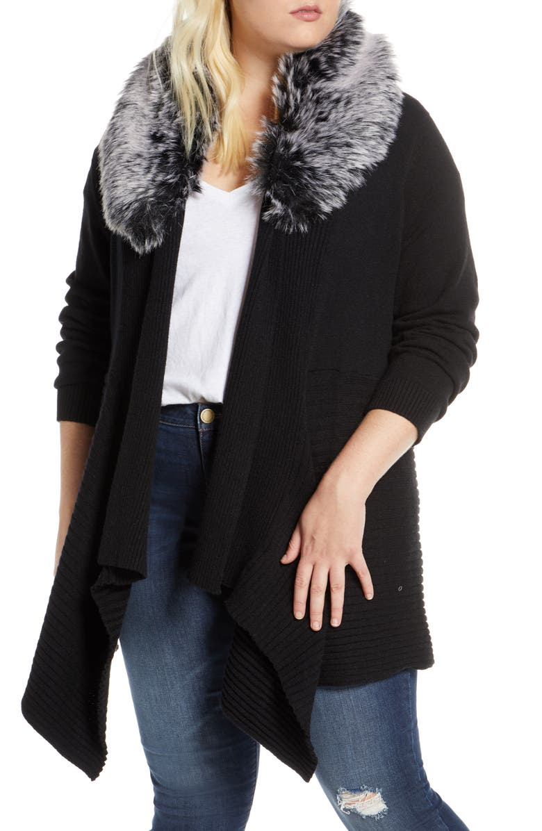 SINGLE THREAD Open Front Cardigan with Faux Fur Collar, Main, color, BLACK
