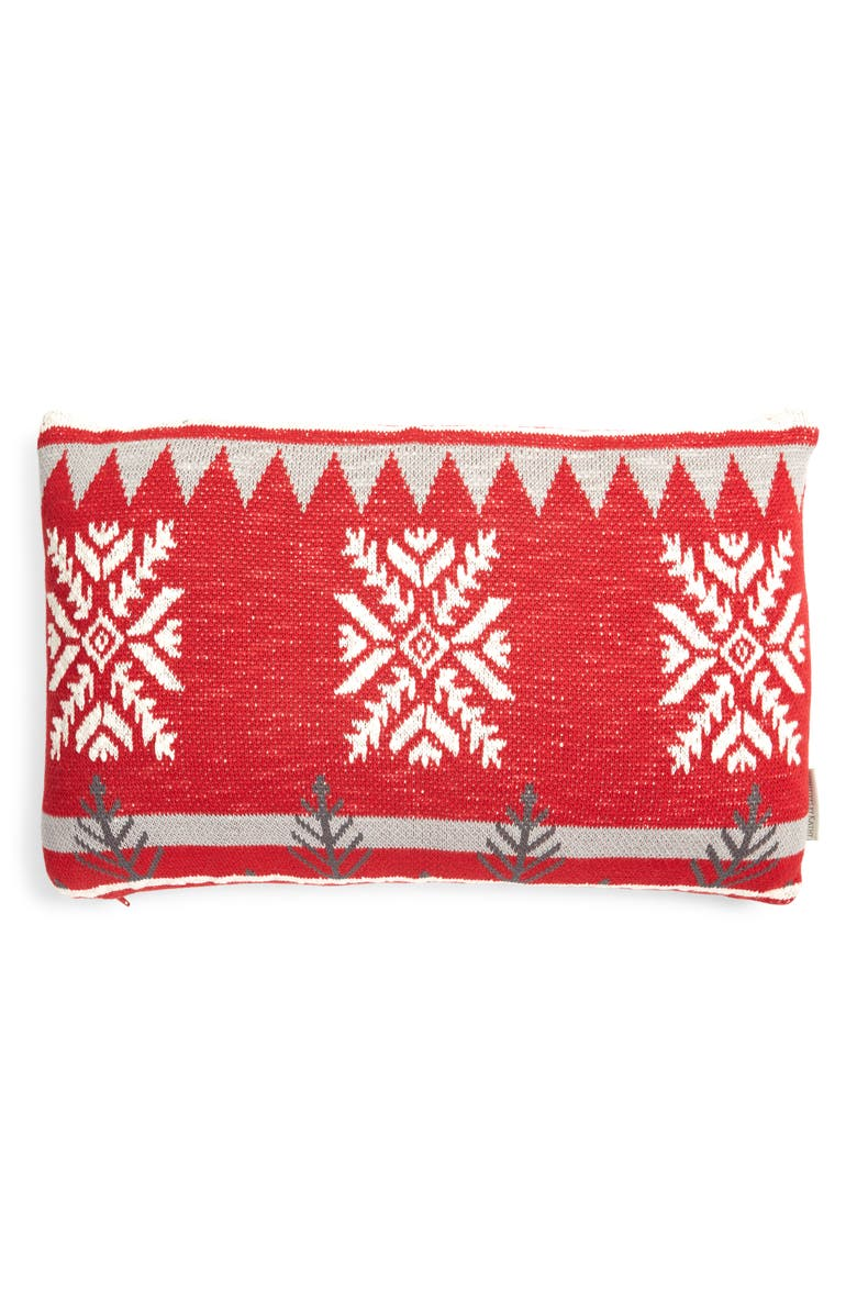 PRIMITIVES BY KATHY Snowflake Accent Pillow, Main, color, RED