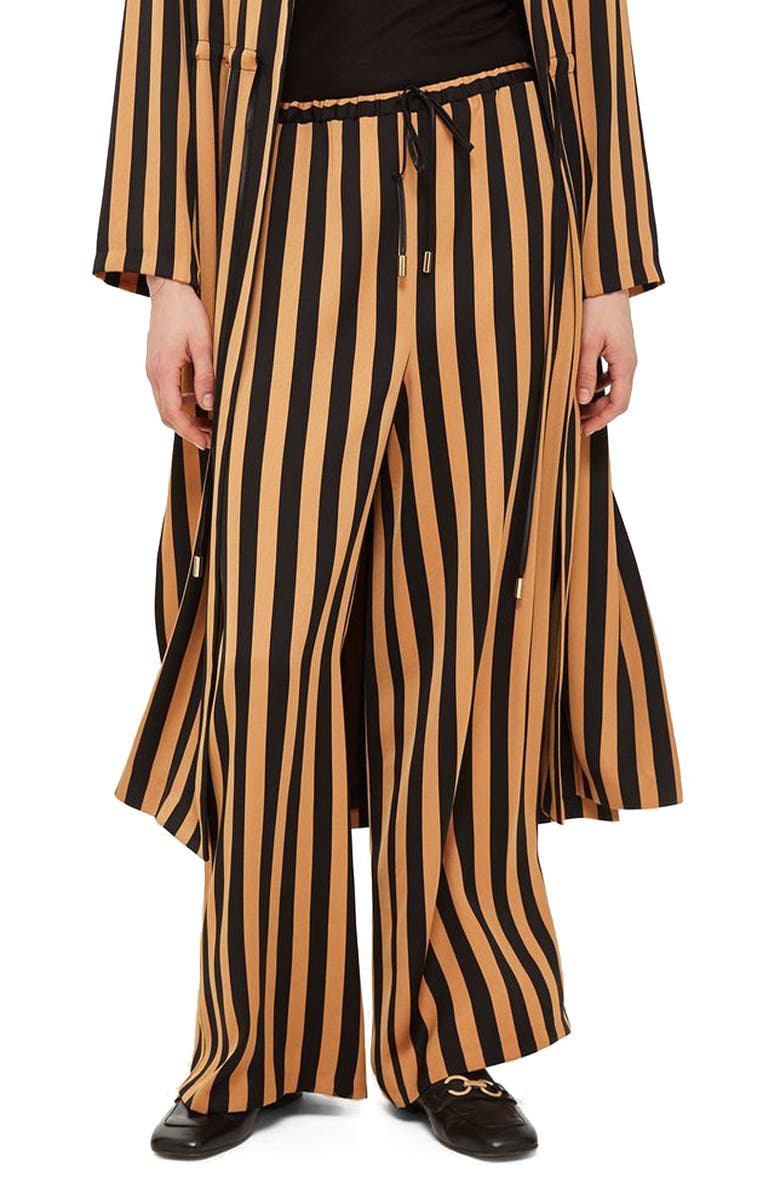 TOPSHOP Stripe Wide Leg Trousers, Main, color, 001