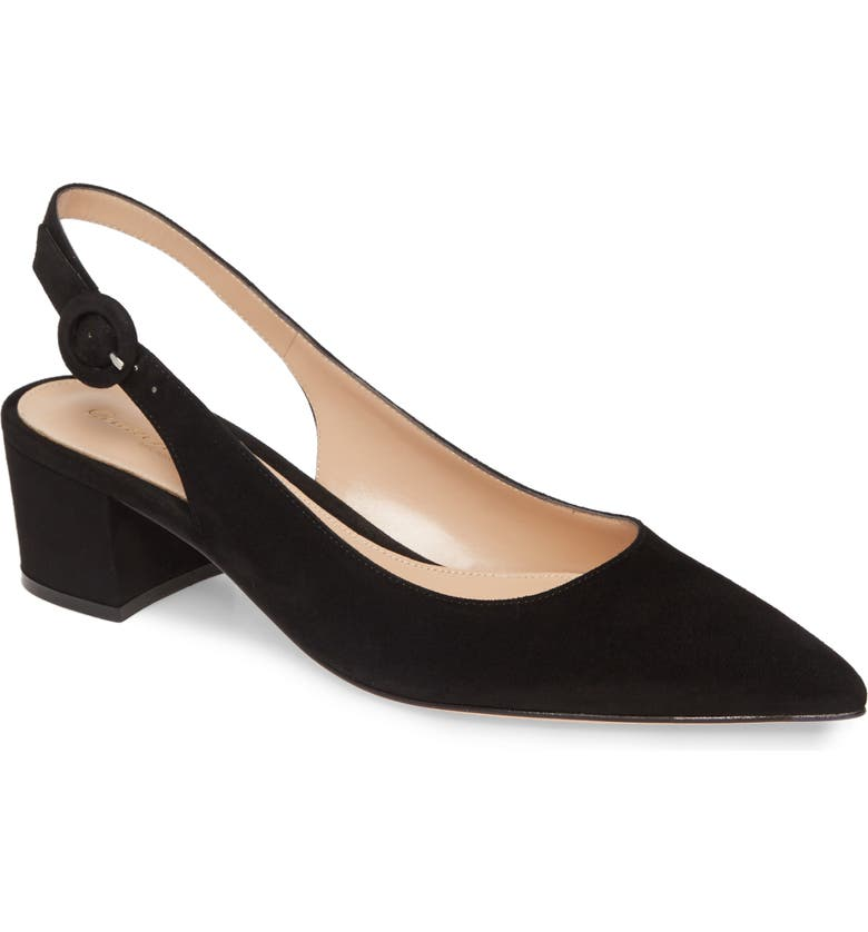 GIANVITO ROSSI Buckle Pointed Toe Slingback Pump, Main, color, BLACK SUEDE