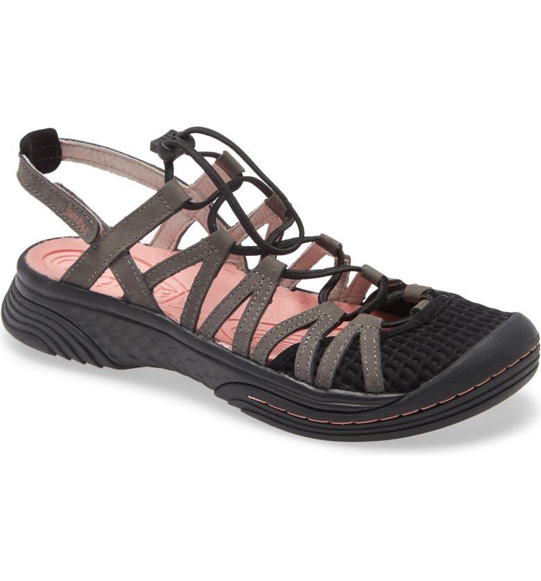 JAMBU Water Diva Encore Sandal, Main, color, BLACK/ CHARCOAL NUBUCK