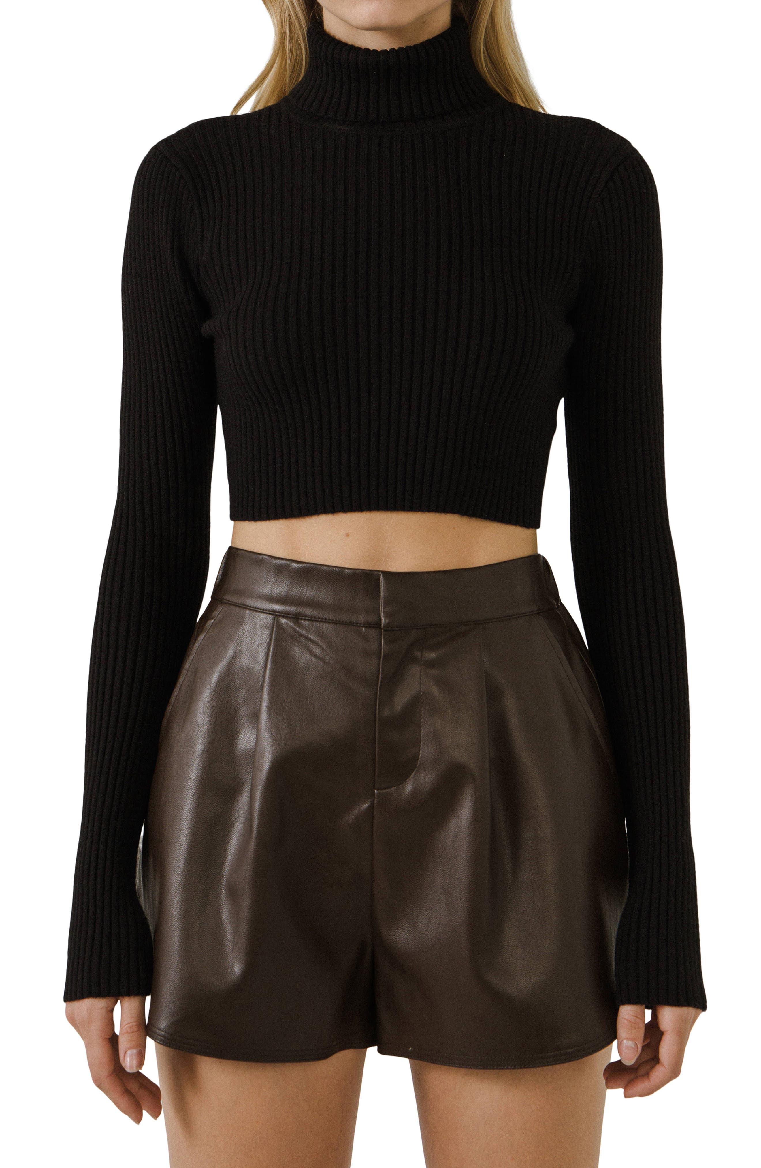 Crop Ribbed Turtleneck Sweater