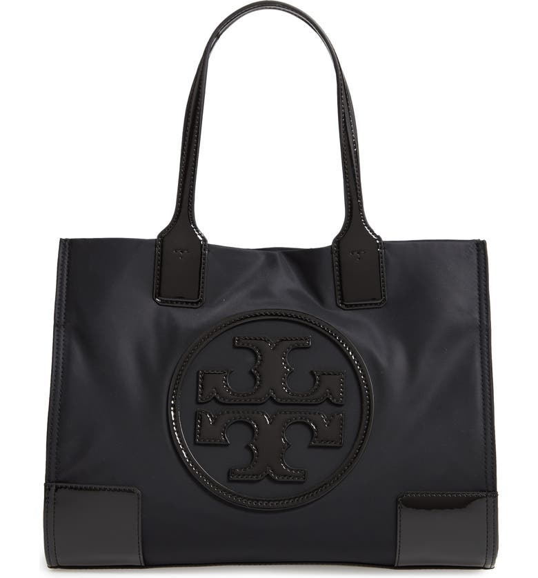 TORY BURCH Mini Ella Patent Nylon Tote, Main, color, BLACK/ BLACK