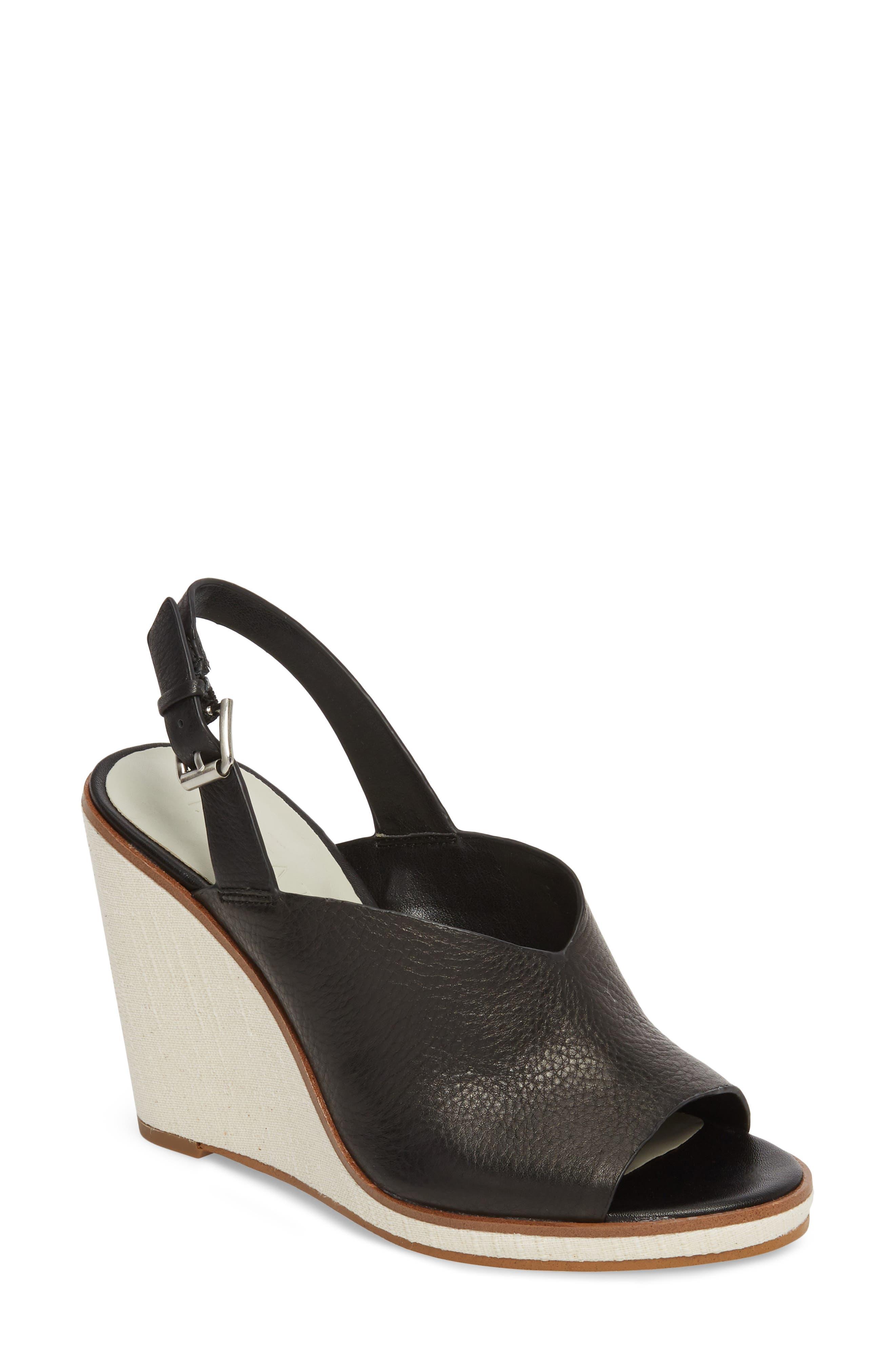 Genna Wedge Sandal, Main, color, BLACK LEATHER