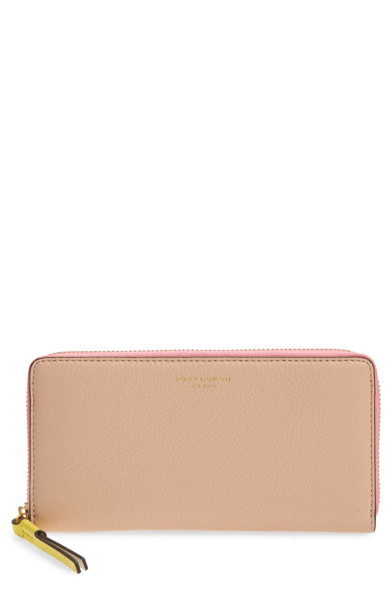 TORY BURCH Perry Colorblock Leather Continental Wallet, Main, color, 950