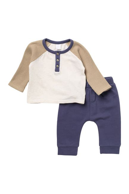 Image of Nordstrom Baby Henley Waffle Knit Shirt & Pants Set