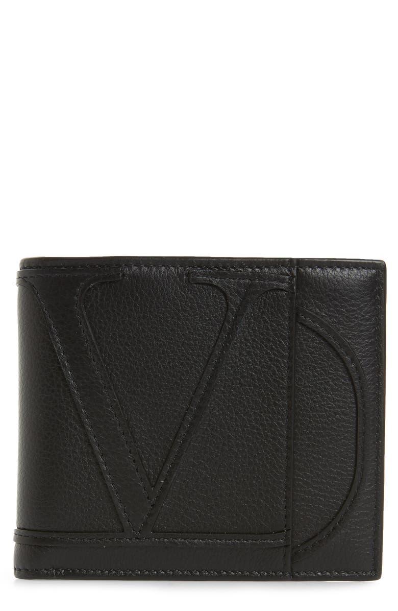 VALENTINO Leather Wallet, Main, color, BLACK