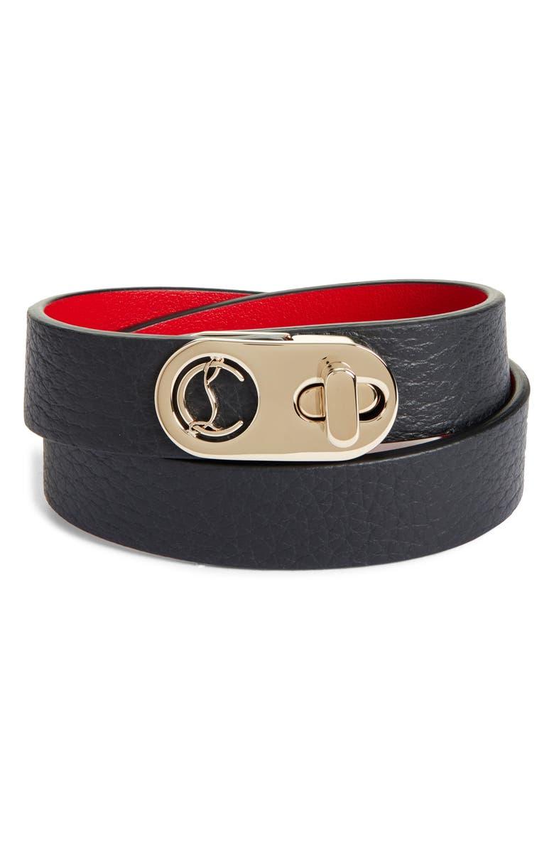 CHRISTIAN LOUBOUTIN Elisa Leather Double Wrap Bracelet, Main, color, BLACK/ GOLD