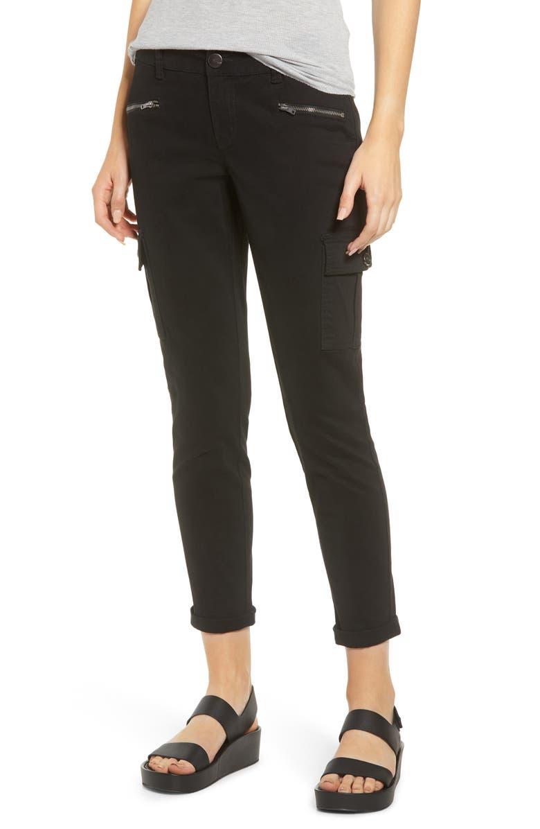 1822 DENIM Cargo Pocket Skinny Jeans, Main, color, BLACK