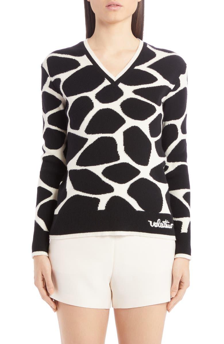 VALENTINO Giraffe Jacquard Wool Sweater, Main, color, AVORIO/ NERO