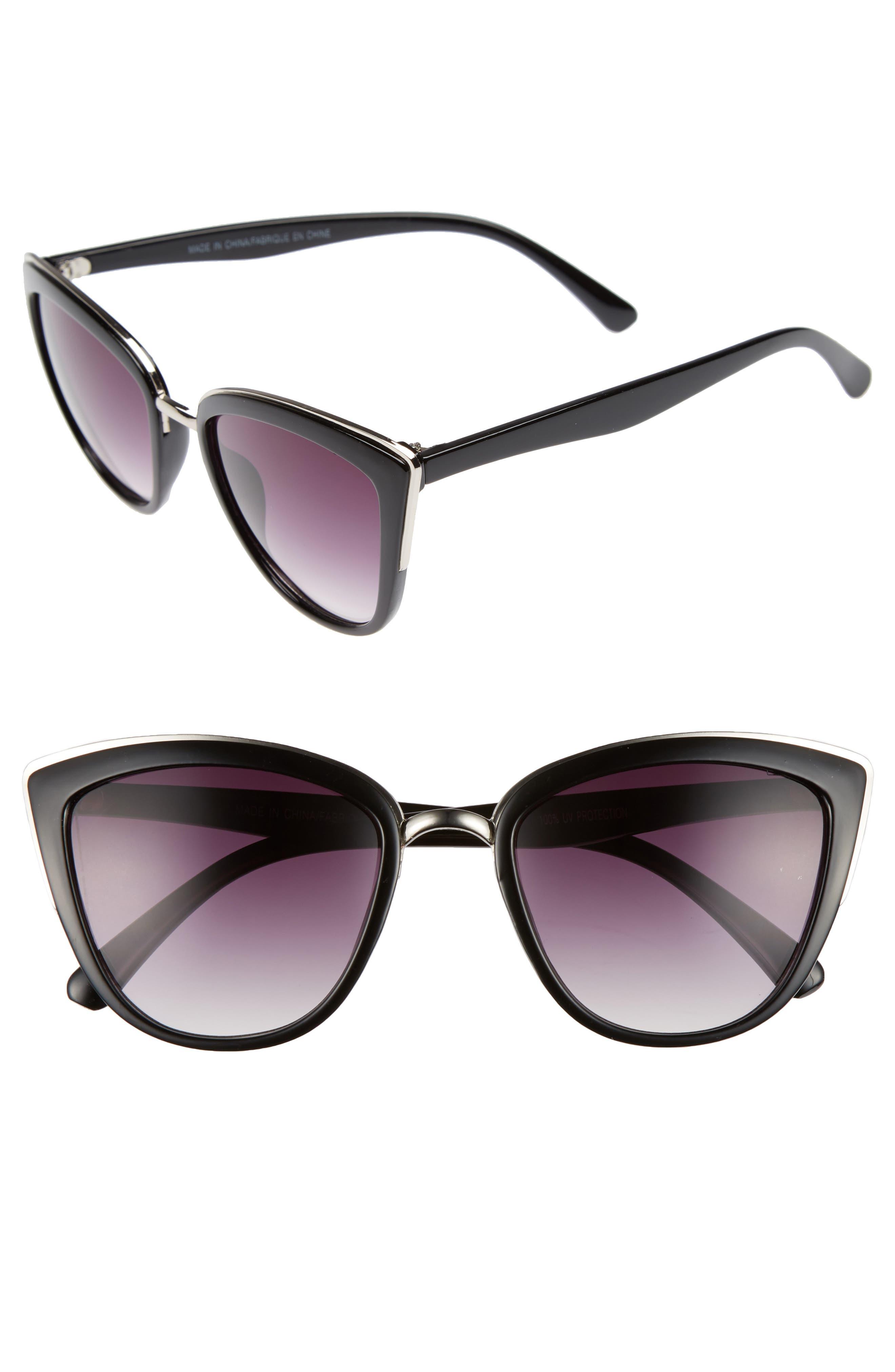 55mm Metal Rim Cat Eye Sunglasses, Main, color, 001