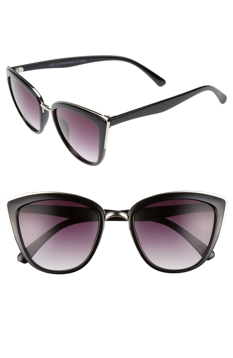 BP. 55mm Metal Rim Cat Eye Sunglasses, Main, color, 001