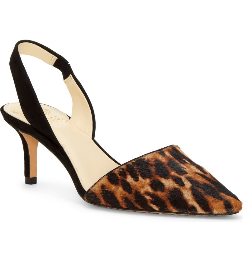 VINCE CAMUTO Kolissa3 Genuine Calf Hair Slingback Pump, Main, color, NATURAL/ BLACK LEATHER