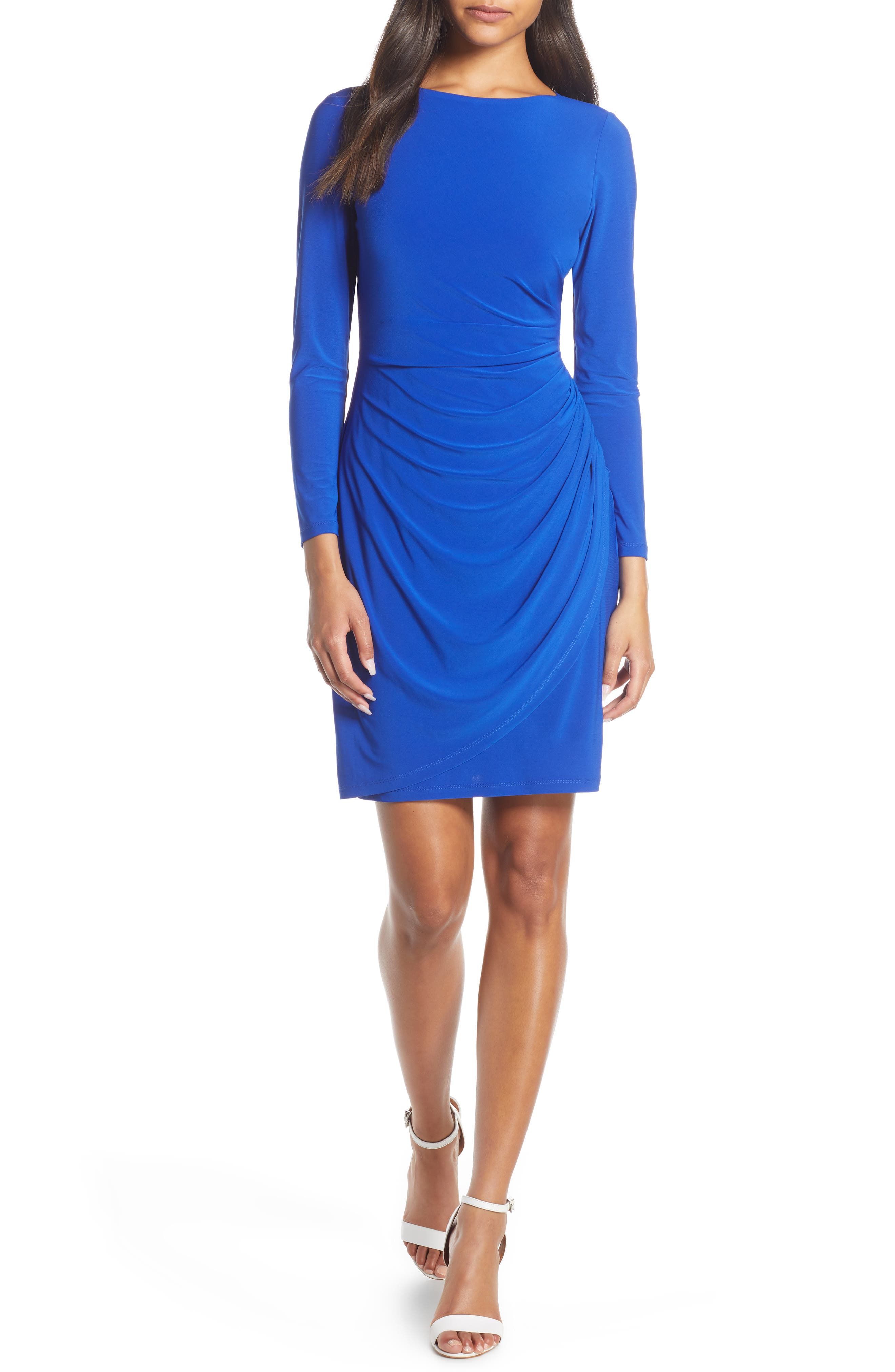 Eliza J Ruched Long Sleeve Body-Con Dress, Blue
