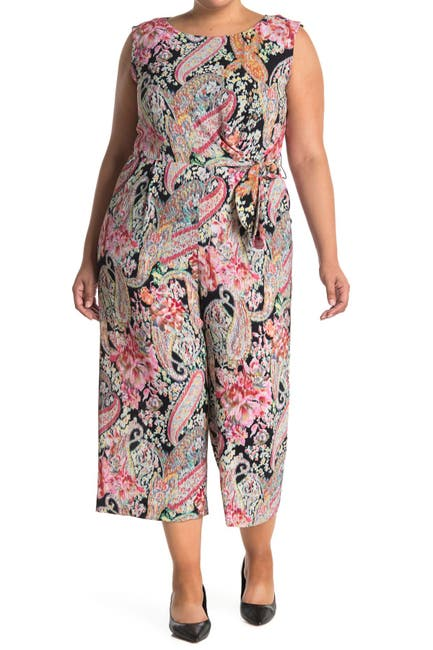 Image of Tahari Paisley Pebble Crepe Crop Jumpsuit